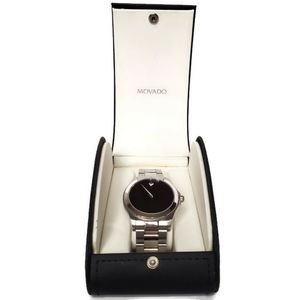 Movado Mens Stainless Sapphire Crystal Black Watch